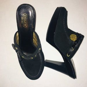 Coach Black Jodey Mules Clog Heels Size 9